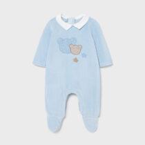 Pijama plușată albastră imprimeu ursuleț, Mayoral