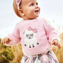Pulover roz cu oiță bebe fată Mayoral