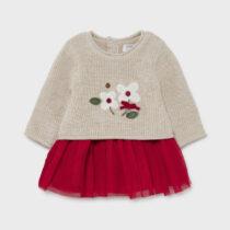 Rochie crem-roșu din tricot Mayoral