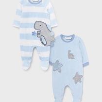 Set 2 pijamale albastre cu dinozaur, Mayoral