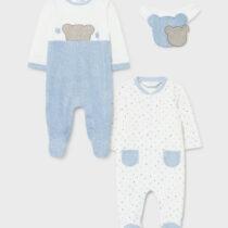 Set 2 pijamale și bavețică albastră, Mayoral
