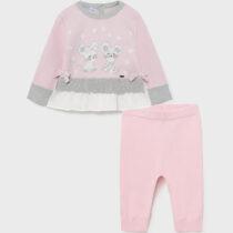Set leggings roz din tricot bebe fetițe Mayoral