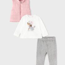 Set 3 piese vestă roz pentru fetițe Mayoral