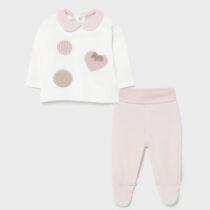 Set pantaloni cu botoșei roz inimioară ECOFRIENDS, Mayoral