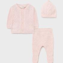 Set pantaloni cu botoșei ECOFRIENDS și căciulă roz Mayoral