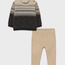 Set crem pulover-pantaloni lungi, Mayoral