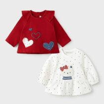 Set 2 bluzițe ivory-vișiniu fetițe Mayoral