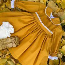 Rochiță muștarie Juliette -Little Rose