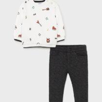 Set bluză ivory imprimeu bebe băiat Mayoral