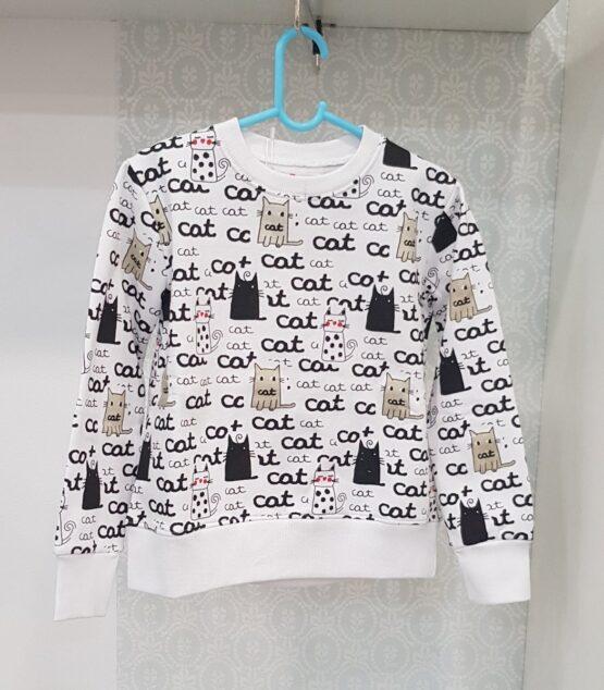 Bluza alba cu pisici Lourders