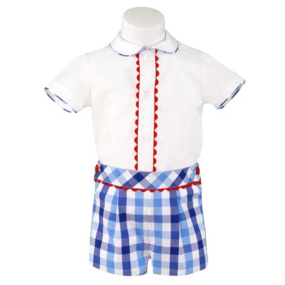 Camasa alba/Pantalon albastru