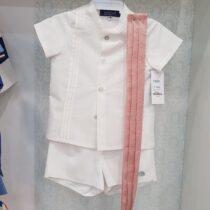 Costumas alb-roz cu curea