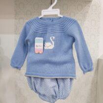 Costumaș deux-piece tricot albastru
