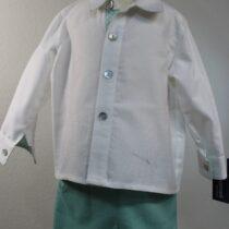 Costumas 2 piese alb-verde