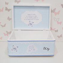 Cutie botez lemn albastra