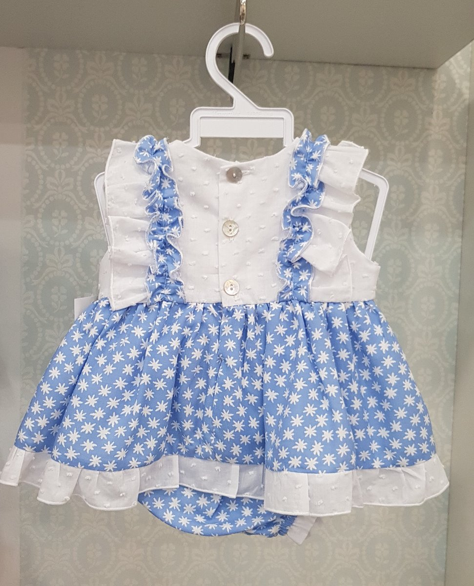 Rochita pentru fetite alba cu albastru cu stelute si fundite