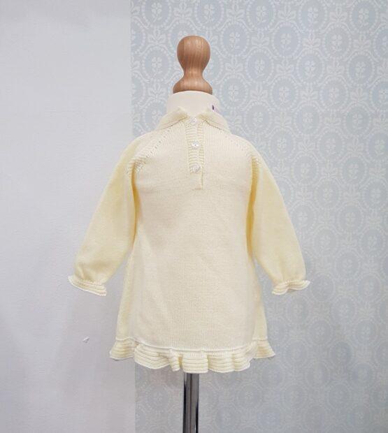 Rochiță tricotată pentru fetițe galbenă