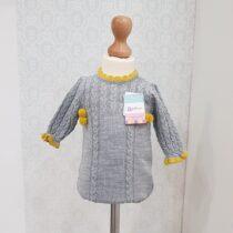 Salopetă tricotată gri-mustar
