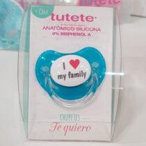 Suzeta albastra I love my family +0 luni
